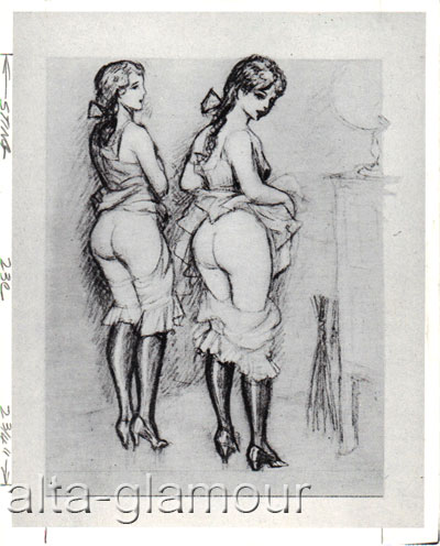PHOTOGRAPH - TWO LOVELIES POLITELY WAITING WITH SKIRTS RAISED, BLOOMERS DOWN