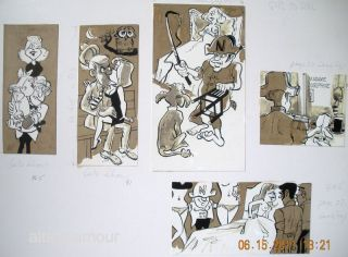 5 UNTITLED CARTOONS- ORIGINAL ARTWORK; Late Show and Girl to Girl