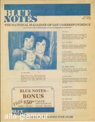 BLUE NOTES; The National Magazine of Gay Correspondence