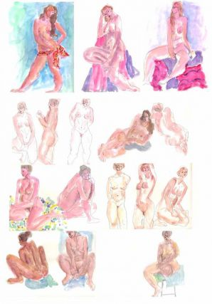 9 WATERCOLOR NUDE STUDIES - ORIGINAL ARTWORK