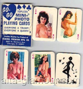 GO-GO TOPLESS MINI-PHOTO PLAYING CARDS; Everyone a Trump! Everyone a Queen! Playing Cards.