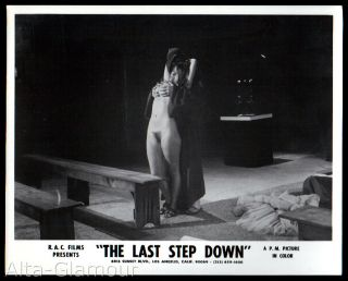 ORIGINAL PHOTOGRAPH -- THE LAST STEP DOWN 1 -- ROBED FIGURE FONDLES BUSTY WOMAN FROM BEHIND