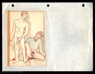 FIVE ORIGINAL GAY WATERCOLOR and PENCIL DRAWINGS (Pygmalion theme)