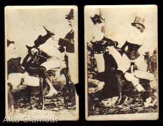 TWO PORNOGRAPHIC PHOTO POSTCARDS OF A MENAGE A TROIS
